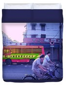 Shanghai Pink Bus Duvet Cover