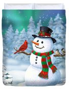 Sharing The Wonder - Christmas Snowman And Birds Duvet Cover