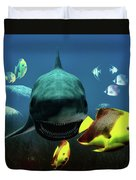 Shark And Fishes Duvet Cover