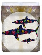 Shark Fish Dangerous Painted Cartoon Face Link For Download Option Below Personal N Commercial Uses Duvet Cover