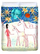 She Meets The Moon Unicorns Duvet Cover