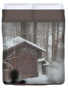 Shed Thru Glass And Snow Duvet Cover