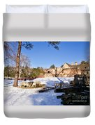 Sheep Farm In Winter Duvet Cover