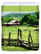 Sheep Grazing In Pasture Duvet Cover