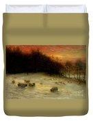 Sheep In A Winter Landscape Evening Duvet Cover