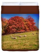 Sheep In The Autumn Meadow Duvet Cover
