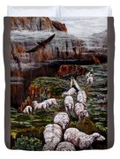 Sheep In The Mountains  Duvet Cover