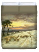 Sheep In The Snow Duvet Cover