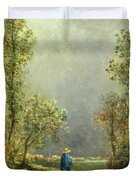 Sheep Watching A Storm Duvet Cover