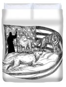 Sheepdog Protect Lamb From Wolf Tattoo Duvet Cover