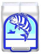 Sheepshead Fish Jumping Fishing Boat Crest Retro Duvet Cover