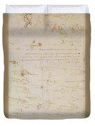 Sheet Of Studies Of Foot Soldiers And Horsemen In Combat, And Halbards Duvet Cover