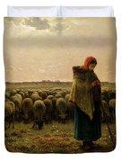 Shepherdess With Her Flock Duvet Cover