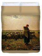 Shepherdess With Her Flock Duvet Cover by Jean Francois Millet
