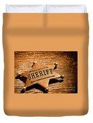 Sheriff Badge - Sepia Duvet Cover