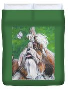 Shih Tzu And Butterfly Duvet Cover