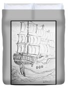 Ship At Sea Duvet Cover