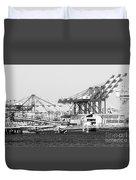 Ship Container Cranes Blk Wht Duvet Cover