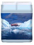 Ship In Between Icebergs Duvet Cover