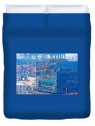 Shipping Containers And Building Windows Reflecting Graffiti  Art Of Valparaiso-chile Duvet Cover