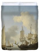 Ships At Anchor On The Coast  Willem Van De Velde II C 1660 Duvet Cover