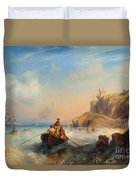 Ships By The Coast Duvet Cover