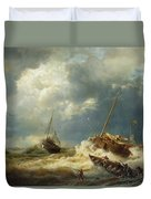 Ships In A Storm On The Dutch Coast Duvet Cover