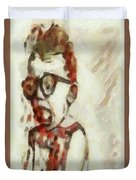 Shocked Scared Screaming Boy With Curly Red Hair In Glasses And Overalls In Acrylic Paint As A Loose Duvet Cover