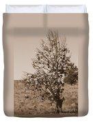 Shoe Tree In Sepia Duvet Cover