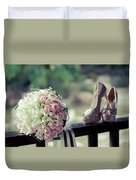 Shoes And Wedding Bouquet Duvet Cover