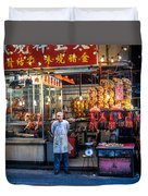 Shop Owner Standing In Front Of Poultry Shop On Temple Street Night Market Kowloon Hong Kong China Duvet Cover
