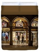 Shop Windows At Night On Piazza San Marco - Venice Duvet Cover