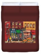 St Viateur Bagel Shop And Mehadrins Kosher Deli Best Original Montreal Jewish Landmark Painting  Duvet Cover
