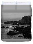 Shoreline - Portland, Maine Bw Duvet Cover