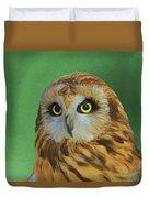 Short Eared Owl On Green Duvet Cover