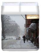 Shoveling Snow Duvet Cover