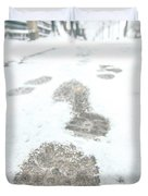 Show Footprints In Snow On Sidewalk Along The Park Duvet Cover