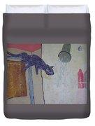 Shower Cat Duvet Cover by AJ Brown