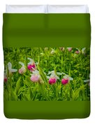 Showy Lady's Slipper Orchids Duvet Cover
