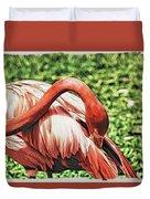 Shy Flamingo Duvet Cover