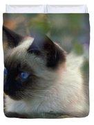 Siamese Cat Hiding Duvet Cover