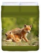 Sibbling Love - Playing Fox Cubs Duvet Cover