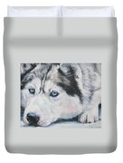Siberian Husky Up Close Duvet Cover