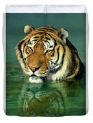 Siberian Tiger Reflection Wildlife Rescue Duvet Cover