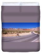 Side Profile Of A Person Cycling Duvet Cover