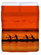 Side View Of Paddlers Duvet Cover