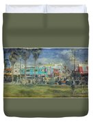Sidewalk Cafe Venice Ca Panorama  Duvet Cover