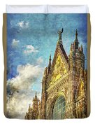 Siena Duomo Facade In The Sunset Duvet Cover