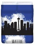 Seattle Skyline Silhouette Duvet Cover