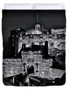 Sights In Scotland - Castle Bagpiper Duvet Cover